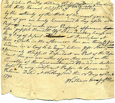 Wallingford Vermont 1794 Court Subpoena To Appear As Witnesses In A Law Suit