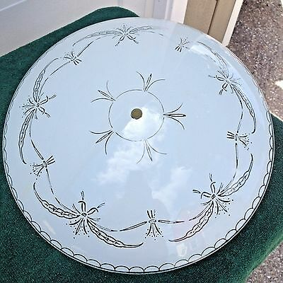 """Vintage Mid Century Ceiling Fixture with  13"""" Glass Shade (Ga)"""