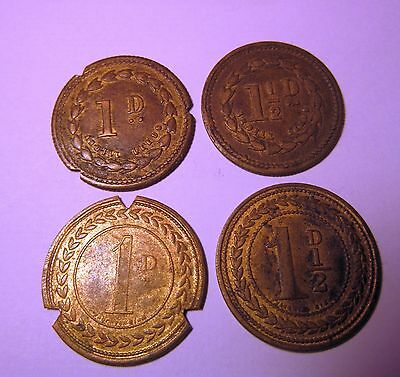 4 Old Farm Tokens/pickers Tickets,  Emsley & Collins , Whaplode , Lincolnshire