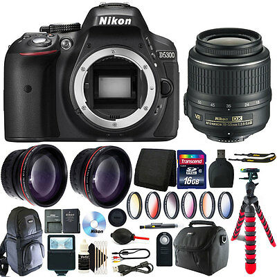 Nikon D5300 24.2 MP Digital SLR Camera + 18-55mm Lens with 16GB Accessory Bundle