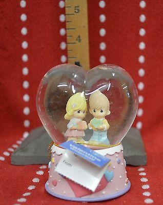 "Love PRECIOUS Moments 2008 Waterball Mini Valentine 3.5"" Heart Boy GIRL Globe"