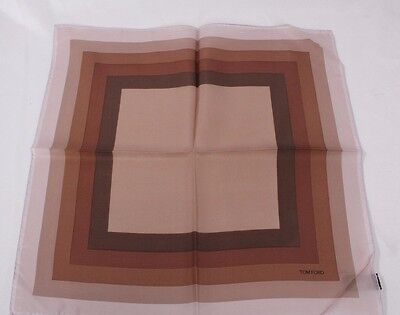 Tom Ford Pocket Square Beige Brown /& Mocha Ombre  Squares 100/% Silk #Tf728