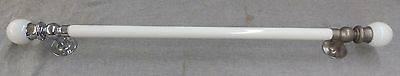 "Vtg 26"" Milk Glass Towel Bar 2"" Ball Ends Chrome Brass Mounts S Sternau 02-17E"