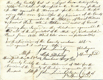 Original New Hampshire 1819 Document Results Of Vote To Divide Cheshire County