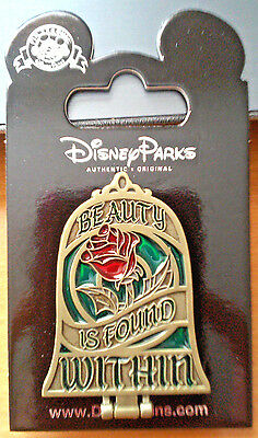 Disney Beauty Is Found Within Belle Stained Glass Rose Locket Mirror Pin NEW