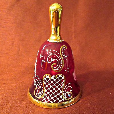 RUBY RED GLASS BELL Creation By K B MADE IN ITALY Raised Enamel ABRAHAM LINCOLN