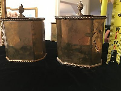 2 Brass table cigarette holders British era India Marshall Field's price knights