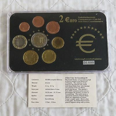 LUXEMBOURG 2004 COMMEMORATIVE 2 EURO IN 8 COIN EURO TYPE SET - pack/coa