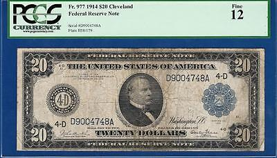 *BURKE-GLASS* 1914 $20 Cleveland Blue Seal Fr. 977 - Certified PCGS Fine 12 C2C