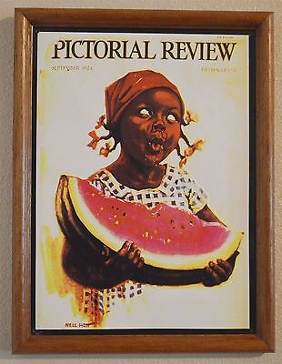 Vintage Metal Sign Black Americana PICTORIAL REVIEW 1924 Nell Hott WATERMELON