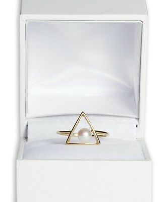 'Triangle' Akoya pearl ring with 18ct yellow gold, size N 1/2