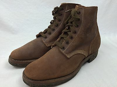 US USMC Marine WW2 BOONDOCKERS ROUGHOUT LEATHER COMBAT BOOTS Shoes RARE NOS WWII