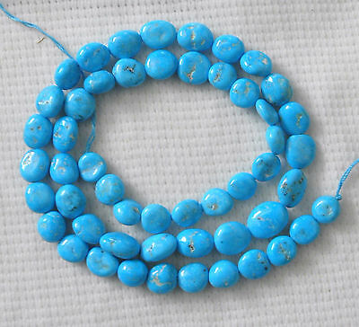 """Real Sleeping Beauty Turquoise Nugget loose Beads  18"""" Natural Blue Jewelry# 922"""