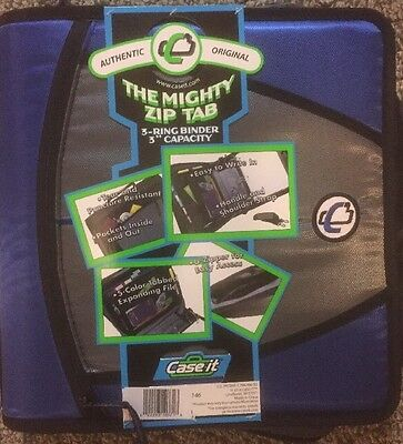 """The Mighty Zip Tab"" Blue 3 Ring Binder 3"" Capacity - Zipper Organizer - New"