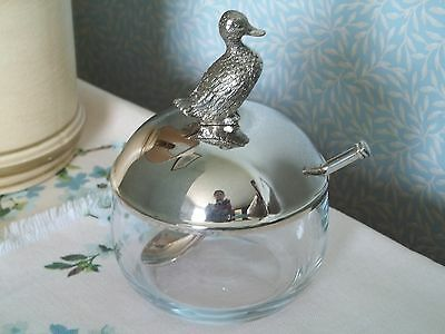 LIDDED GLASS SUGAR BOWL/PRESERVE POT with SILVER-PLATED DUCK FINIAL and TEASPOON