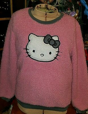 HELLO KITTY Juniors Size Large Fluffy Pink Sweatshirt w Gray Accents
