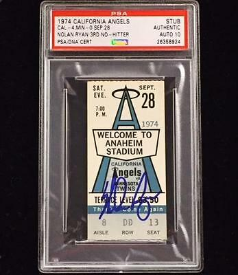 NOLAN RYAN Signed 3rd No Hitter 9/28/1974 Game Ticket PSA 10 Autograph Angels