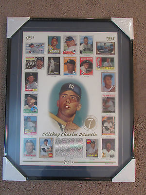 Mickey Mantle 1951-1969 Limited Poster TOPPS perfect with Frame and Mat Board