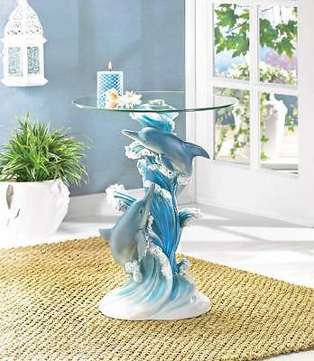 Playful Dolphins Accent Table Marine Life Home Decor Collectible
