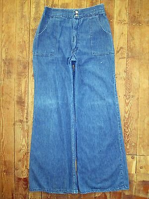 VTG JC Penney Fashions Blue Jeans Pants Hippy Bell Bottom Flare 70s 30x31 10 12