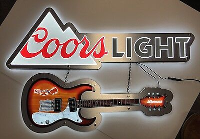 "Coors Light LED Sign W/ Klipsch Guitar LED Sign ~ 2 Signs ~ NEW In Box 36"" X 24"""