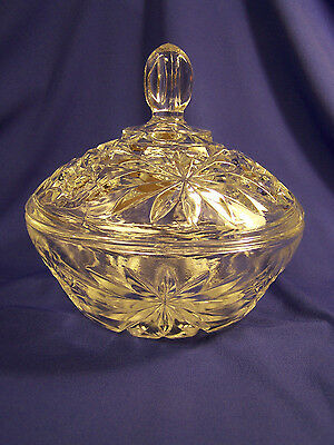 Anchor Hocking Covered Lid Candy Dish Early American Prescut Clear Glass