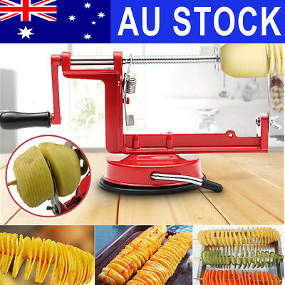 Manual Twisted Potato Slicer Spiral French Fry Chipper Cutter Stainless Steel