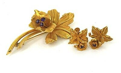 Art Nouveau 14K Gold & Amethyst Floral Earrings Pin Set-Atk Signed