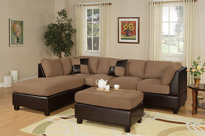Modern Saddle Espresso 3 piece Microfiber Sectional Sofa Ottoman Chaise Couch