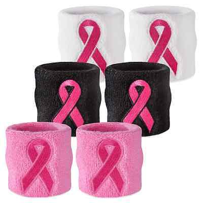 Suddora Ribbon Sweat Wristband - Breast Cancer Awareness Sport Athletic Sweatban