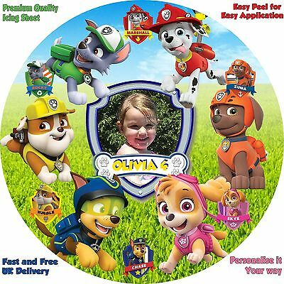 """PAW PATROL + Own Photo 8"""" Personalised Icing Sheet Cake Topper. Premium Quality."""