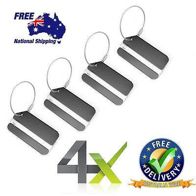 4 BLACK  Aluminium Metal Tags for Travel Luggage Baggage Suitcase Bag -SA SELLER