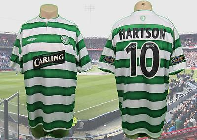 Celtic 2003-04 SPL home shirt Hartson 10 size XL '100 years of the hoops'