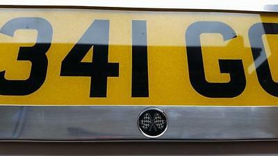 Stainless Steel Chrome Number Plate Surround RALLY Motorsport CHECK flag 16m