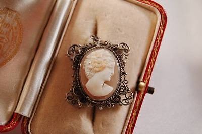 Edwardian silver filigree pendant with carved shell cameo