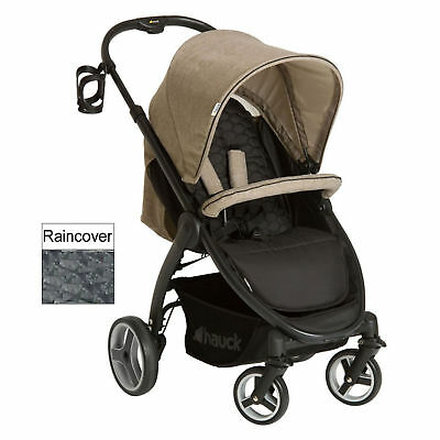 Hauck Melange Beige Lift Up 4 Pushchair Stroller Baby Buggy With Raincover