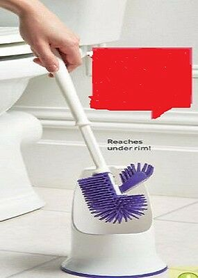Silicone Self-Cleaning Double Headed Toilet Brush With Holder & Ergonomic Handle