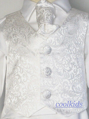 Baby Boys Christening Suit,Baptism Suit, White  paisley Chistening Outfit,