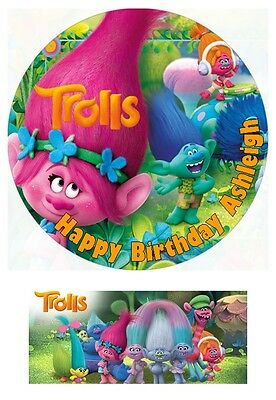 Trolls Movie 2016 Personalized Edible Cake toppers 7 Inch or cupcakes Precut