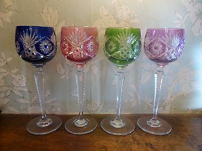 STUNNING Bohemian/Czech SET of 4 CUT TO CLEAR WINE GLASSES - 20cms/8""