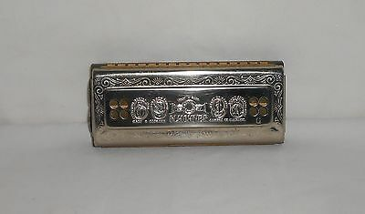 Vintage made in Germany M. Hohner Echo Bell Metal Reed Harmonica C & G