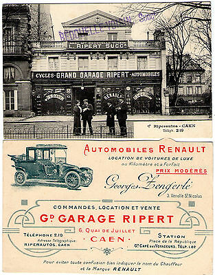 cpa caen 14 calvados garage ripert magasin cycles velo location voiture renault