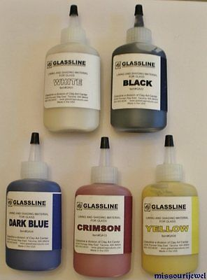 Glassline Fusing Glass Paints 'Primary Colors' Plus Black and White (5) Nice!!
