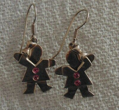 Silver Dangle Earrings Girl with Pink Rhinestones Boucles d'oreilles Argent .925