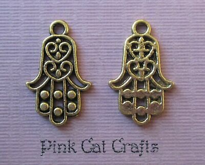 5 x Antique Gold Tone Large Hamsa Hand Charms Pendants Double Sided 60x45mm