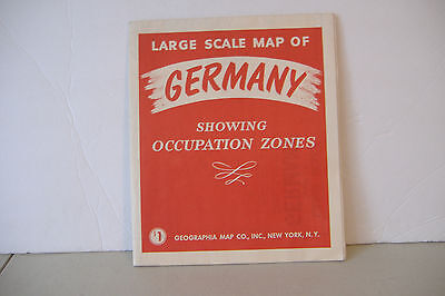 ~Large Scale Map Of Germany~Showing Occupation Zones~Geographia Map Co.new York~