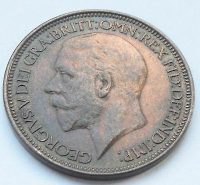 Scarce 1925 King George V Modified Effigy Halfpenny Aunc Coin Km# 824