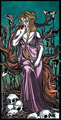 "Gothic greek Persephone underworld flowers skulls comic FANTASY ART 11"" x 14"""