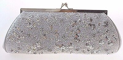 Carlo Fellini Nite Bag Silver Satin/bead/sequin Evening Clutch With Chain $75.