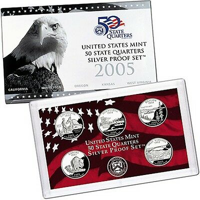2005 S US Mint Silver Proof State Quarters 5 Coin Set with Box and COA